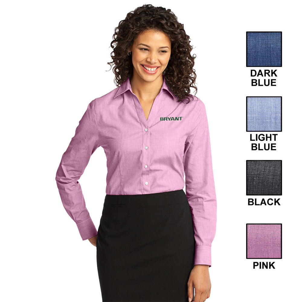LADIES PORT AUTHORITY CROSSHATCH EASY CARE SHIRT